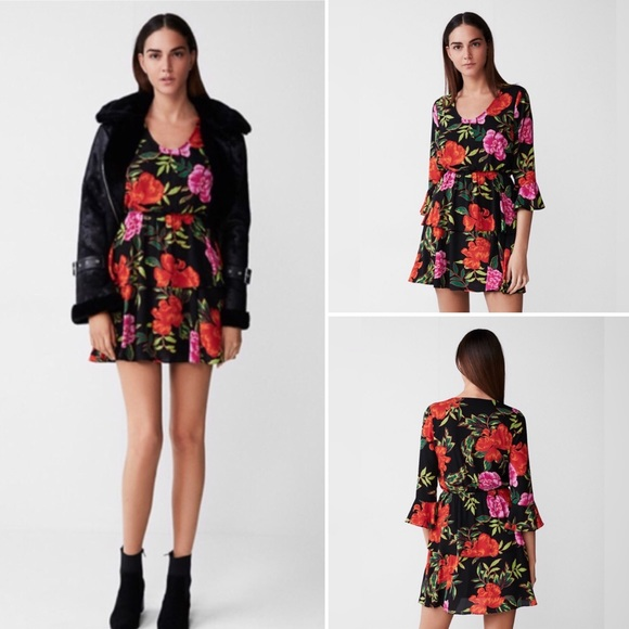 379ebae1e9 Express Floral Tiered Fit and Flare Dress
